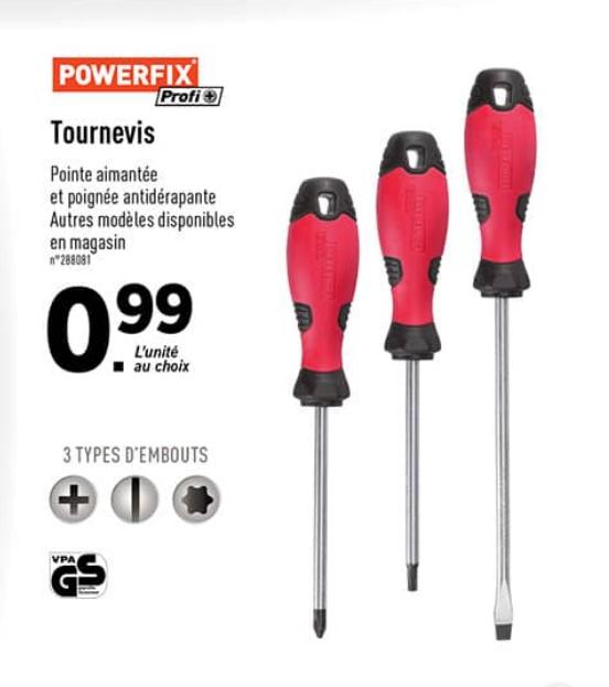 Tournevis Powerfix Plat, Cruciforme ou Torx
