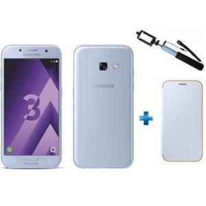 "Smartphone 4.7"" Samsung Galaxy A3 2017 - Bleu + Perche Selfie SSF63UF + Neon Flip Cover"