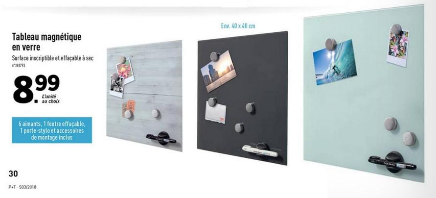 Sélection de Produits en Promotion - Ex: Tableau magnétique en verre