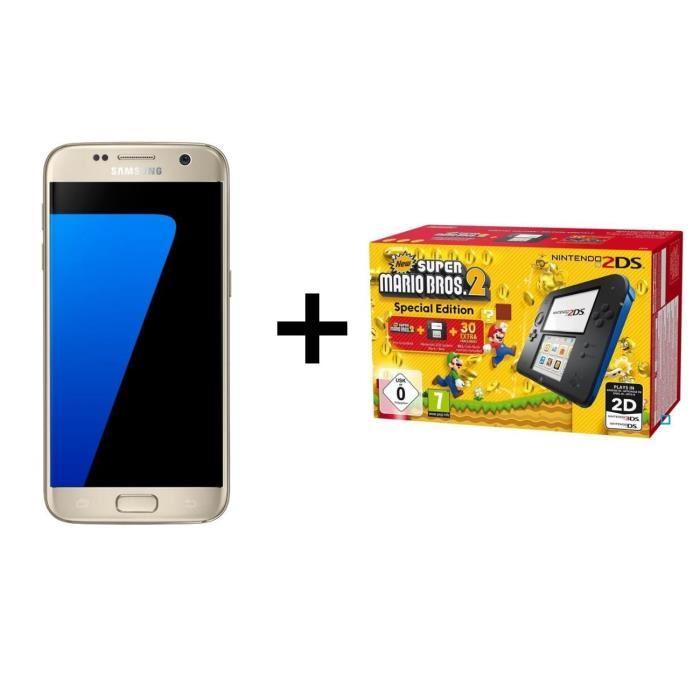 """Smartphone 5.5"""" Samsung Galaxy S7 Edge + Console Nintendo 2DS Bleue + New Super Mario Bros 2 (via ODR de 70€) - 399€ pour les CDAV"""