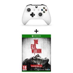 Manette Xbox One sans fil blanche + Jeu Evil Within sur Xbox One