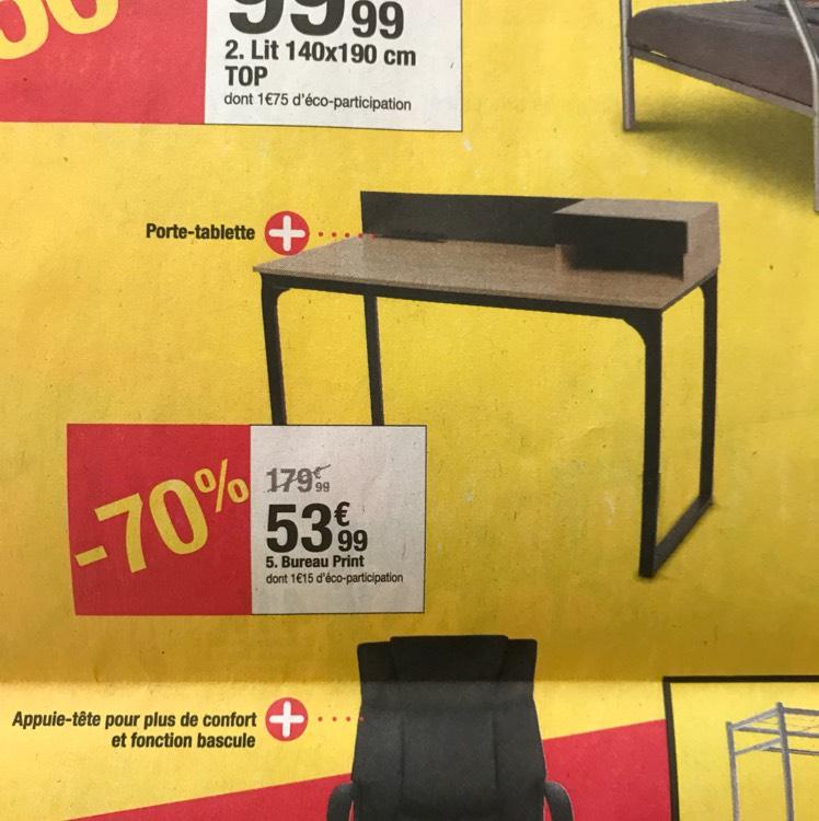 Bureau Print imitation chêne/noir