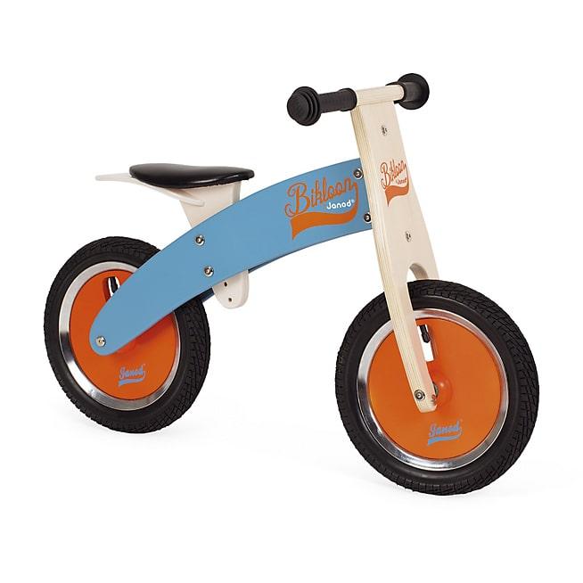 Draisienne en bois bleue et orange pour enfant
