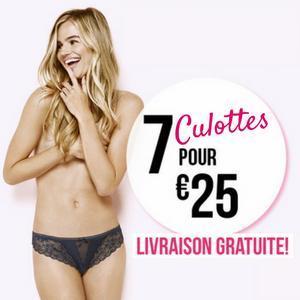 Lot de 7 culottes parmi une sélection pour 25€ + Livraison à domicile gratuite