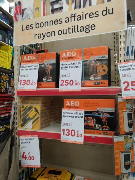 Sélection de packs d'outils AEG Powertools en promotion - Ex : Perceuse sans fil Bsb18cli402c avec 2 batteries 4AH - Strasbourg (67)