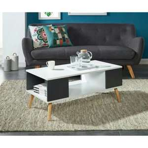 Table basse Babette 90x45 cm - Blanc et gris anthracite