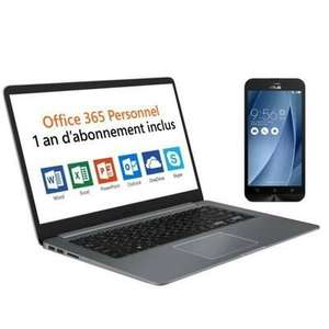 "Pack PC Portable 15,6"" Asus Vivobook R520UA-BR580T (Core i5-8250U, 4Go RAM, 1To HDD) + Smartphone 5"" Zenfone Go + Office 365"