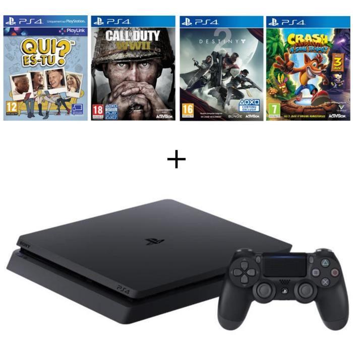 Pack console Sony PS4 Slim (500 Go) + Crash Bandicoop N. Sane Trilogy + Call of Duty: WWII + Destiny 2 + Qui es-tu ?