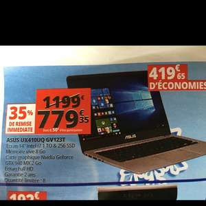 "PC Portable 14"" Asus ZenBook UX410 GV123T (Intel i7, GTX 940 MX 2Go, 8Go RAM, 1To HDD + 256Go SSD) - Englos (59)"