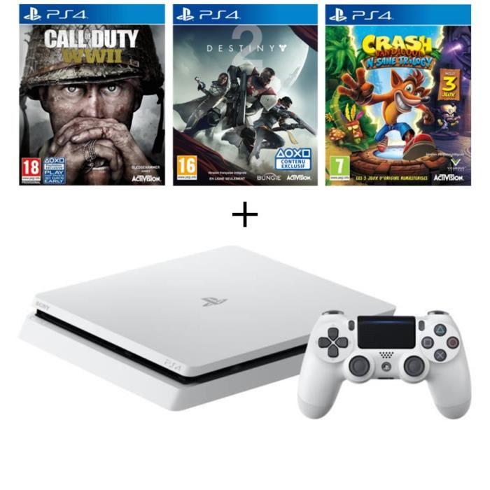 Pack PS4 Slim Glacier White 500 Go + 3 Jeux