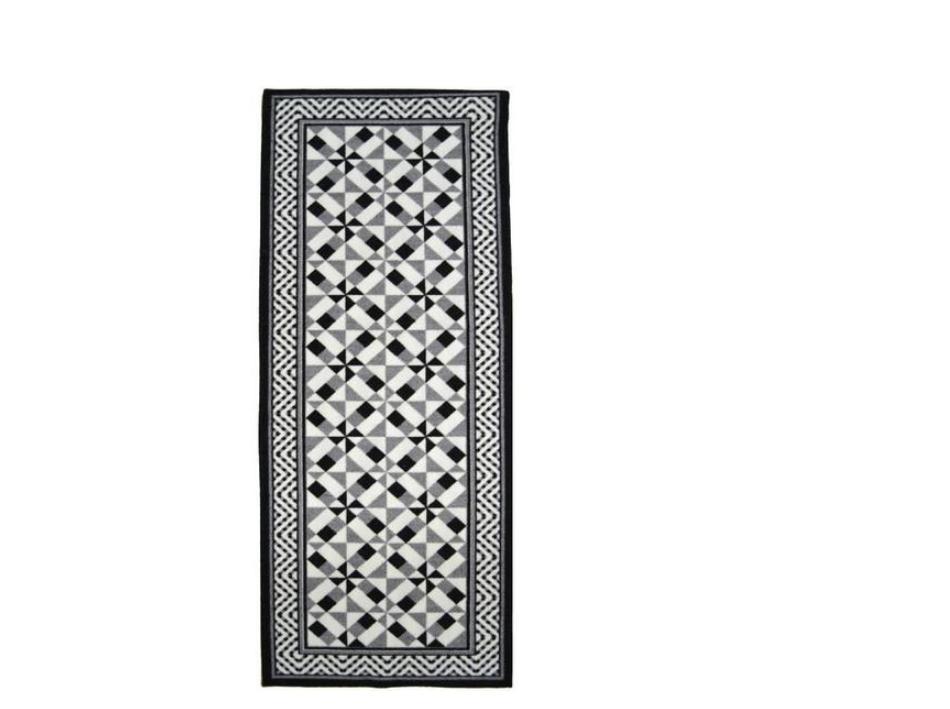 Sélection de tapis de couloirs en promo -  Ex : Tapis de couloir carreaux de ciment Utopia 67 x 180 cm noir, gris et blanc