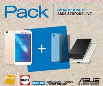 """Pack Smartphone 5"""" Asus ZenFone Live 32Go + Batterie + Coque + Protection verre trempé"""