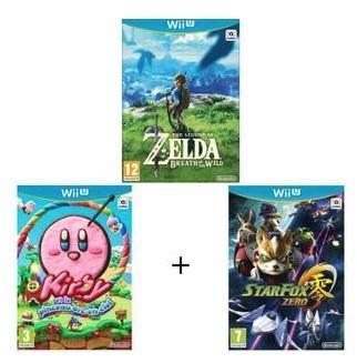 Pack de 3 Jeux pour Nintendo Wii U - Zelda-Breath of the Wild + Kirby et le Pinceau Arc-en-ciel + Starfox Zero