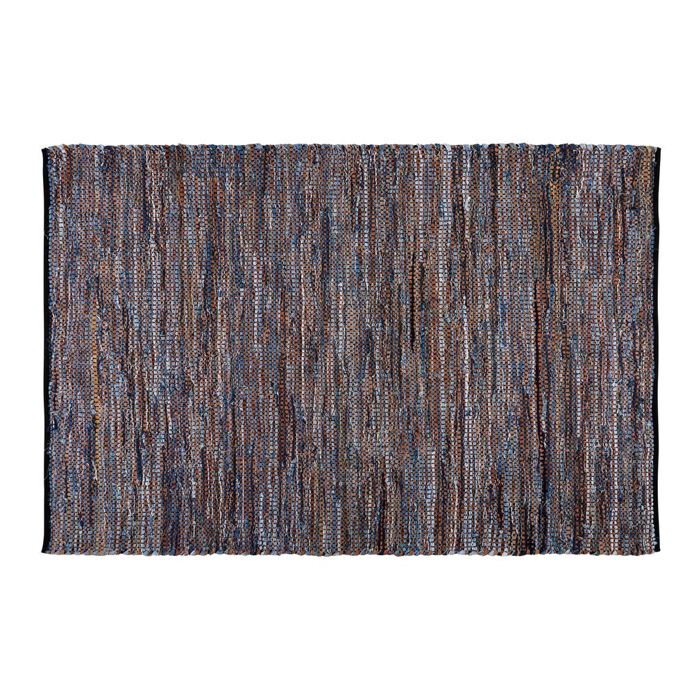 Tapis tressé en coton bleu et cuir marron 140x200cm