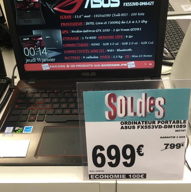 """PC Portable 15.6"""" Asus FX553VD-DM1089 (i5 7300HQ, 4 Go RAM, GTX 1050 2 Go, 1To HDD) - Les Saisons de Meaux (77)"""