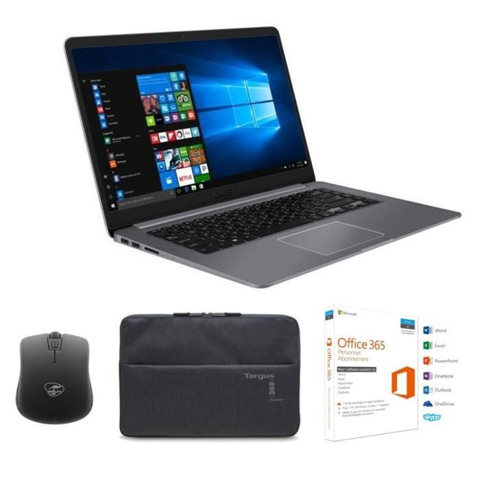 "Pack PC Portable Asus R520UA-BR580T 15,6"" - 4 GoRAM - Intel Core i5-8250U - 1 To + Office 365 personnel + Housse 15,6"" + Souris"