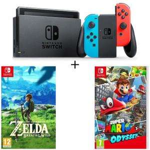 Pack console Nintendo Switch + The Legend of Zelda: Breath of the Wild + Super Mario Odyssey