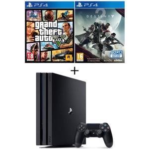 Pack PS4 Pro 1To Noire + Qui-es-tu ? (Jeu PlayLink à télécharger) + GTA V + Destiny 2