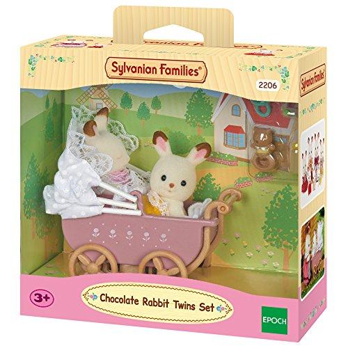 Jumeaux Lapin chocolat et poussette double Sylvanian Families n°2206