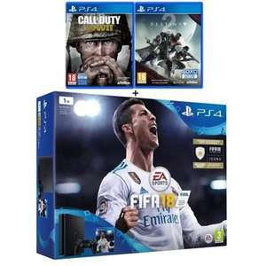 Console Sony PS4 1 To + Fifa 18 + Call of Duty World War II + Destiny 2