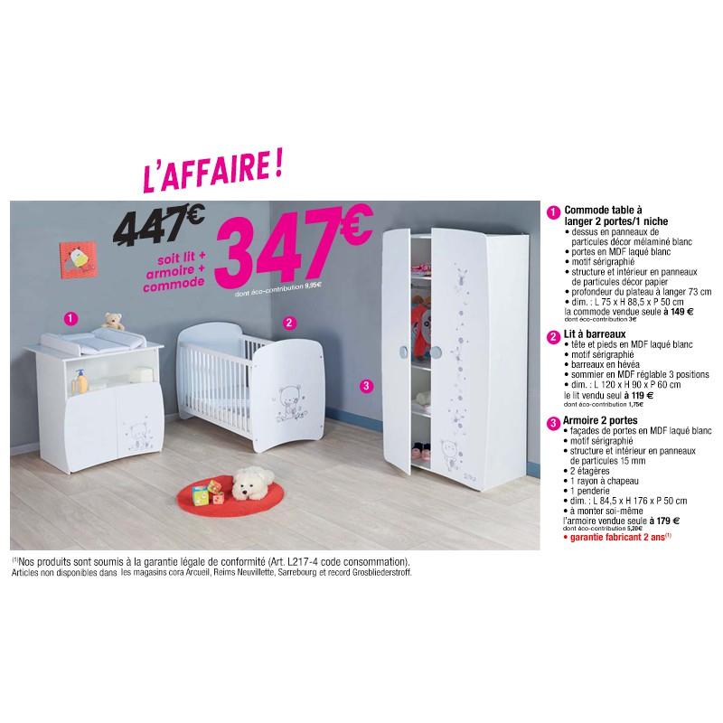 Chambre bébé complète Timeo : Commode + Armoire + Lit