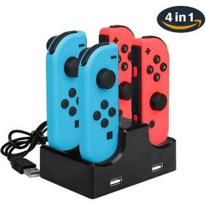 Station/Dock de recharge pour 4 Manettes Nintendo Switch Joy-Con + 2 Ports USB