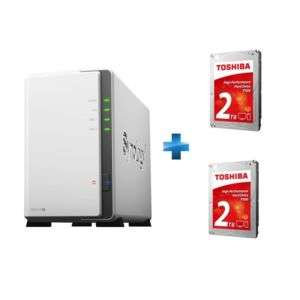 "Serveur NAS Synology DS216J + lot de 2 disques durs internes 3.5"" Toshiba P300 High-Performance 2 To"