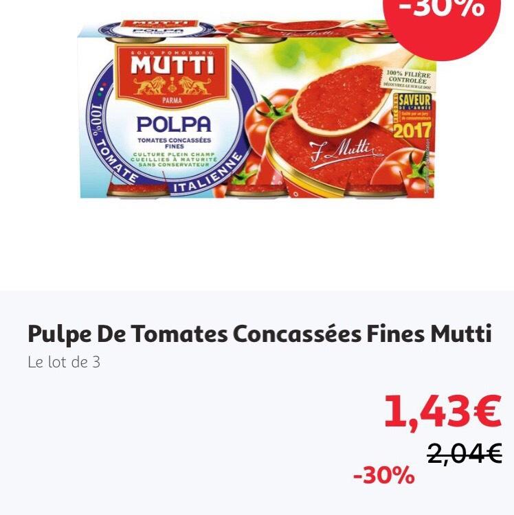 Lot de 3 Boîtes de Pulpe de Tomates Concassées Mutti