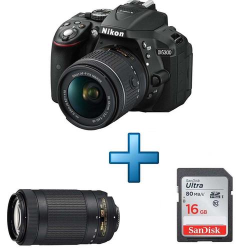 Appareil photo reflex Nikon D5300 + Objectif 18-55 mm + Objectif 70-300 mm + Carte SD 16 Go