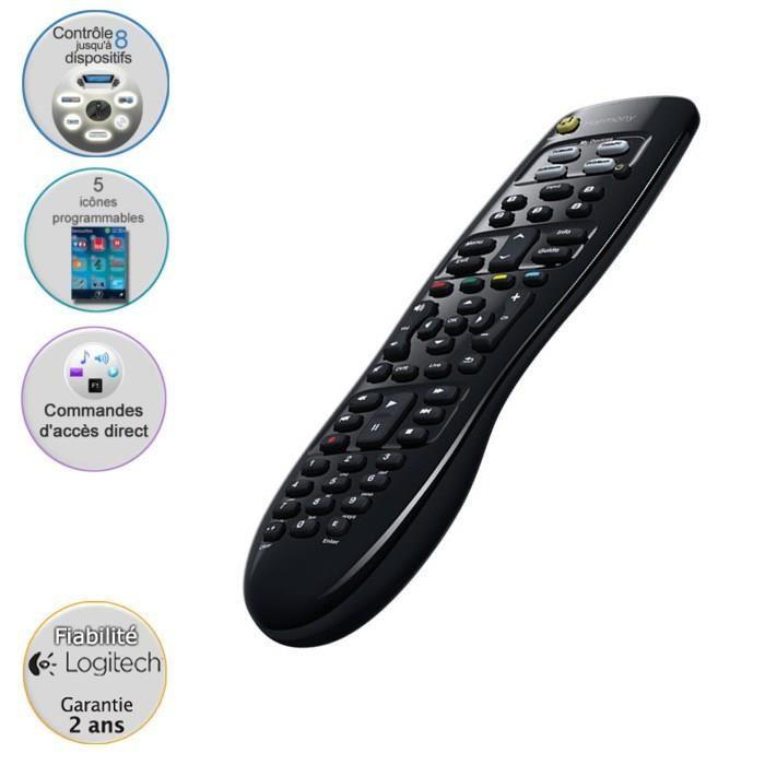 Télécommande universelle TV Logitech Harmony 350 - 8 en 1 - Commandes directes des activités - 5 préréglages de chaînes
