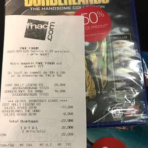 Sélection jeux PS4 en promotion - Ex : Borderlands handsome collection et Dirt Rally  - Les Halles Paris (75)