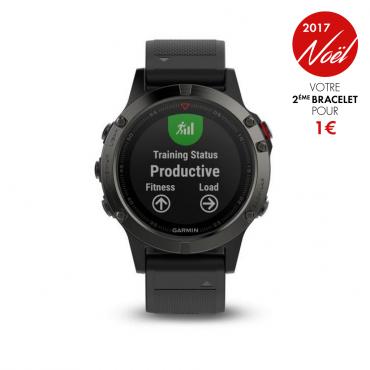 Montre connectée GPS Garmin fénix 5 hr gray bracelet noir + un bracelet offert ( 50Euros)