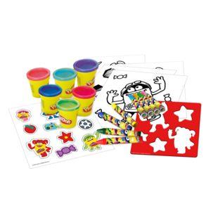 Coffret créatif Play Doh - 6 pôts + feutres + pochoirs + coloriages + autocollants