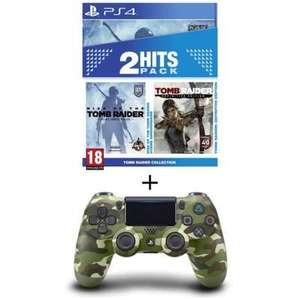 Pack Tomb Raider Edition Definitive + Rise of the Tomb Raider sur PS4 + Manette PS4 DualShock 4  V2 Green Camo ou Noire
