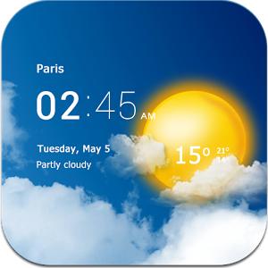 Transparent horloge & météo sur Android