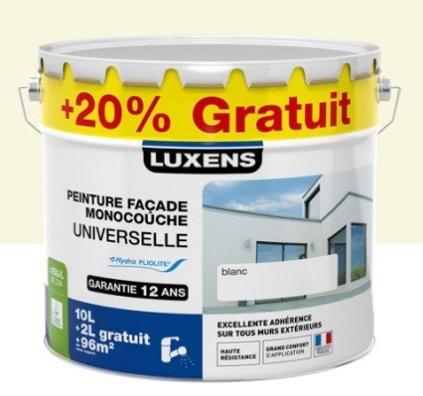 Sélection de pots de peinture en promotion - Ex : peinture façade universelle Luxens Meulière - 12 L au LeroyMerlin Gonesse (95)