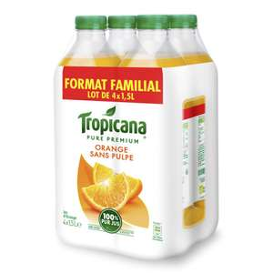 Pack de 4 bouteilles de jus d'orange sans pulpe ou multi-fruits Tropicana - 1.5 L