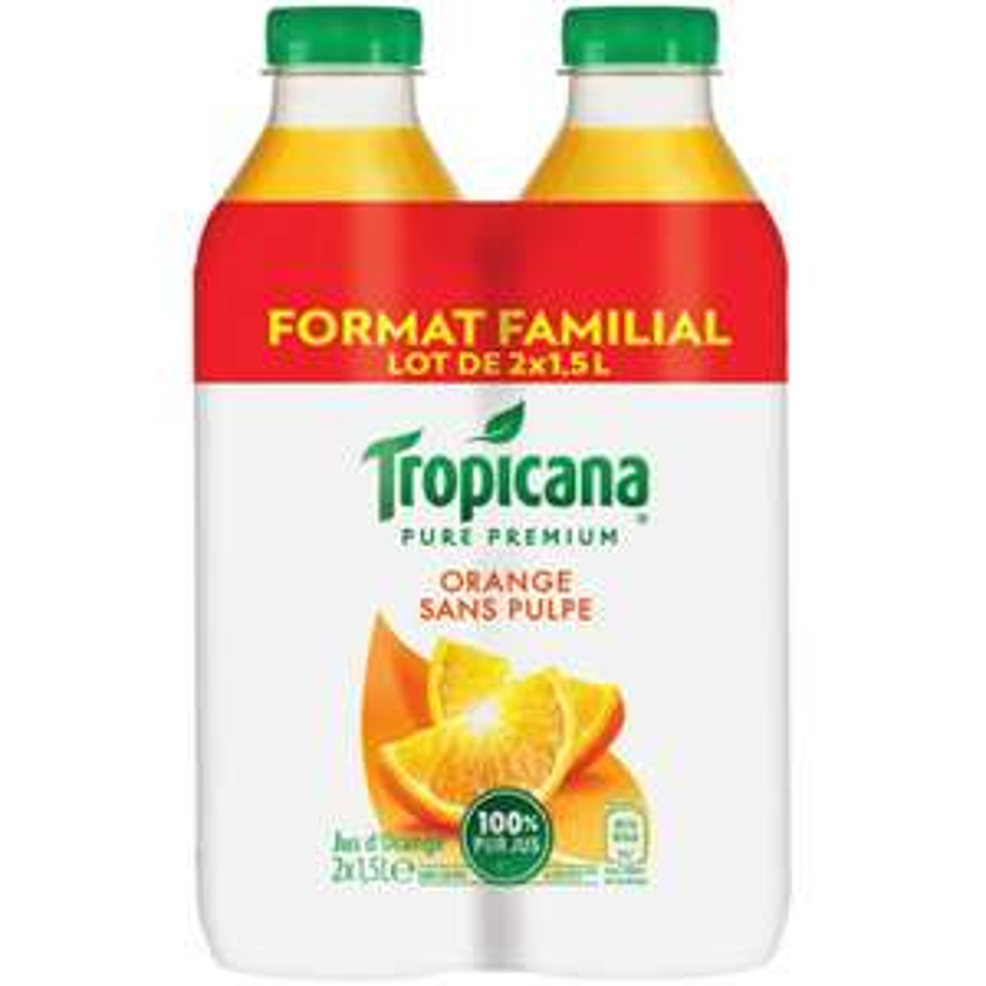 Lot de 2 bouteilles de jus Tropicana - différents types, 1,5 L (via 2.55€ sur la carte de fidélité)
