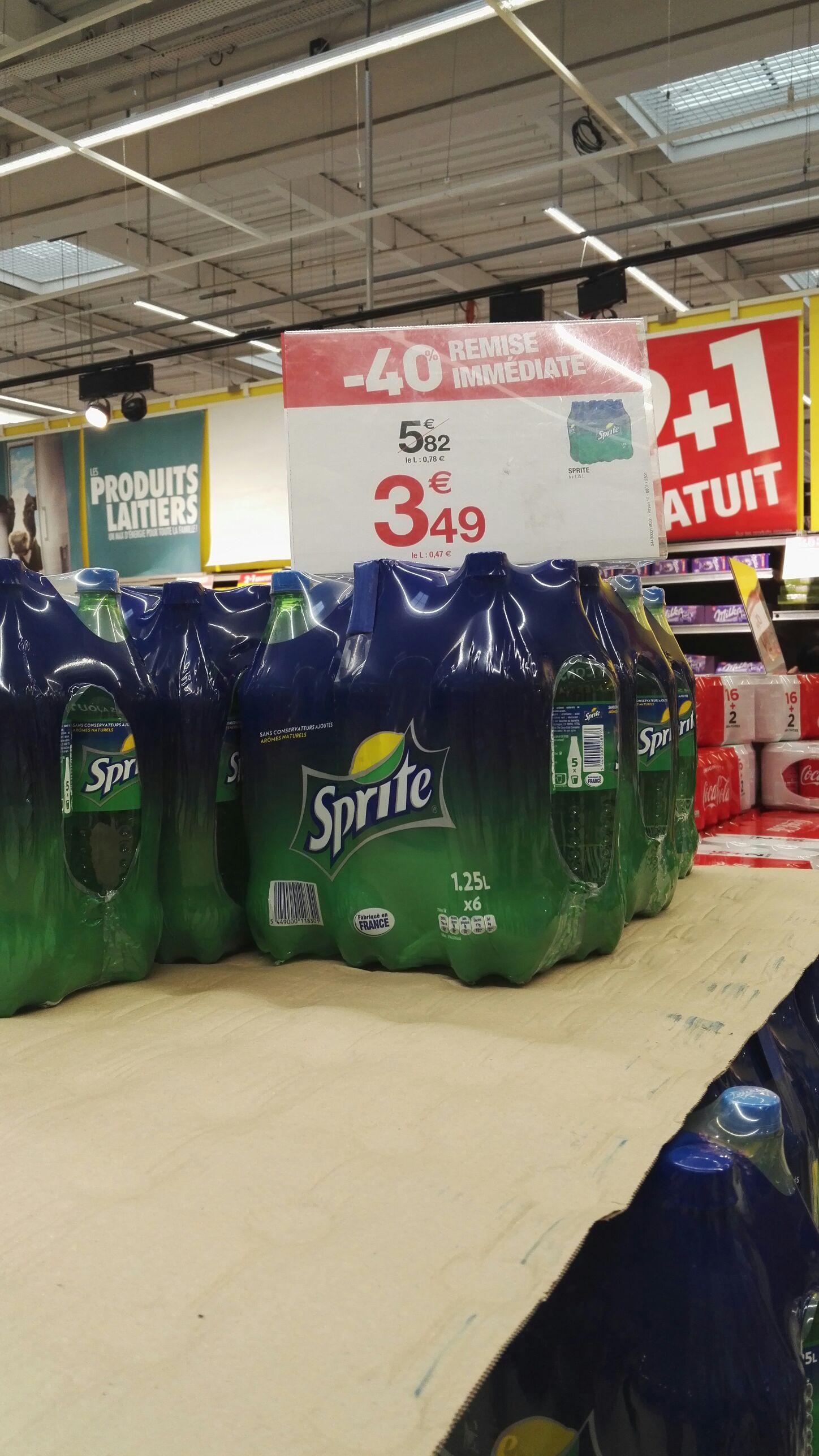 Pack de 6 bouteilles de soda Sprite - 1.25 L au Carrefour Tourville-la-Rivière (76)