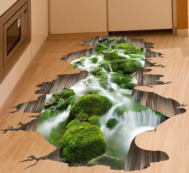 Sélection de stickers au sol repositionnables avec effet 3D - Ex : Cascade (50 x 70 cm)