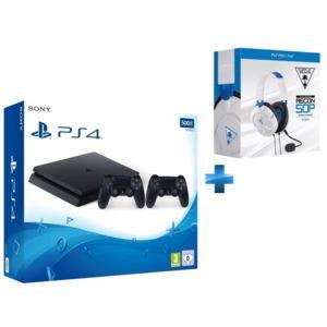 Console PS4 500GO SLIM E + 2ème Manette + QUI ES TU ? voucher + Casque blanc Econ 50P