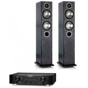 Pack ampli intégré Marantz PM6006 (2x45 W) + paire d'enceintes colonnes Monitor Audio Bronze 5 (différents coloris)