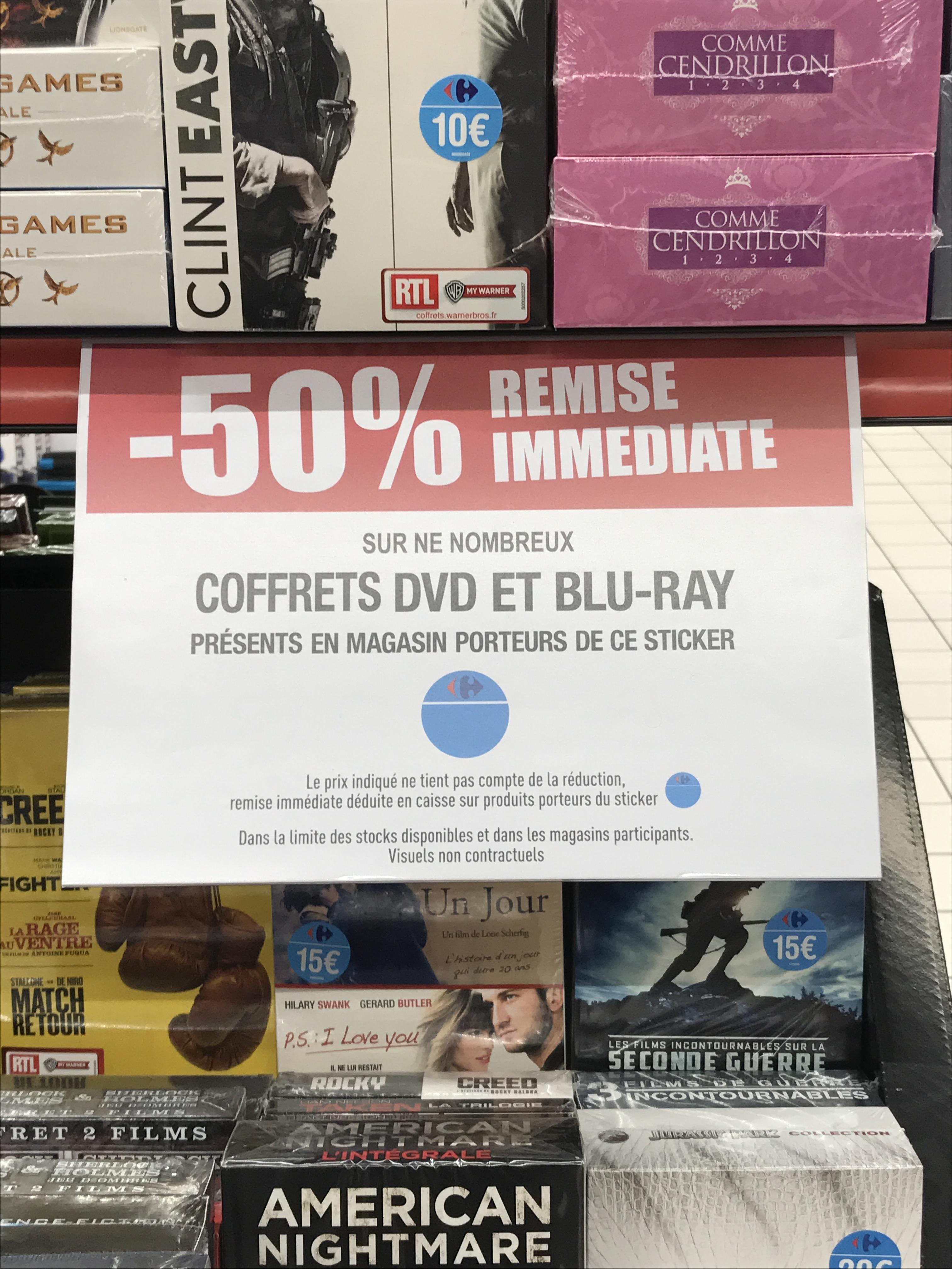 50% de réduction sur une sélection de coffrets Blu-ray et DVD - Ex :  Indiana Jones - L'Intégrale au Carrefour Gennevilliers (92)
