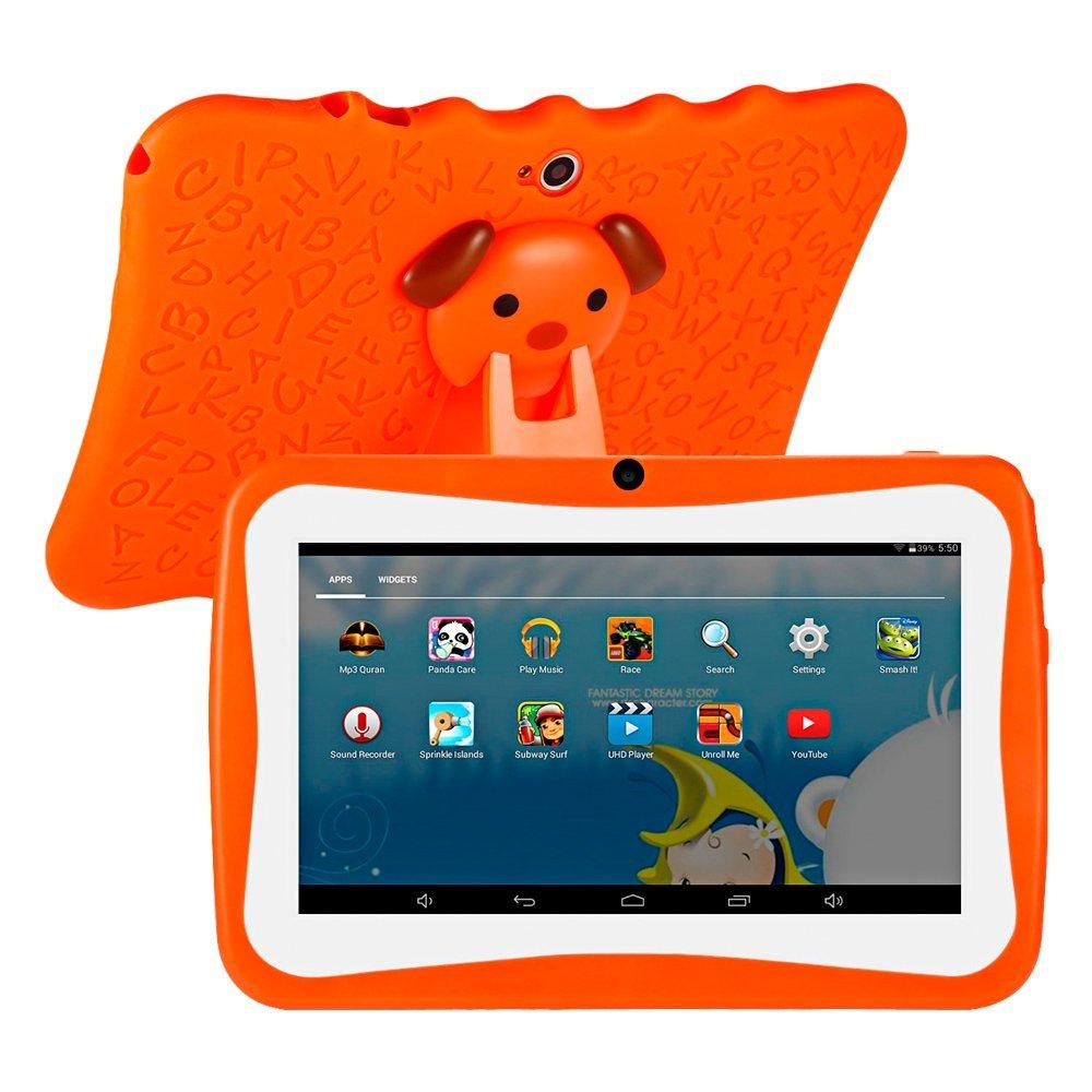"""Tablette tactile pour enfant 7"""" GBLife Q768 - 1 Go de RAM, 16 Go, Android 4.4, avec support en silicone, orange (vendeur tiers)"""