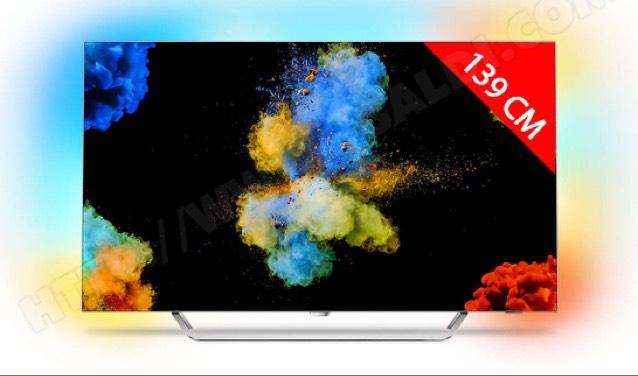 "TV 55"" Philips 55POS9002 - OLED, 4K, Ambilight 3 côtés + Barre de son Yamaha ATS2070BL"