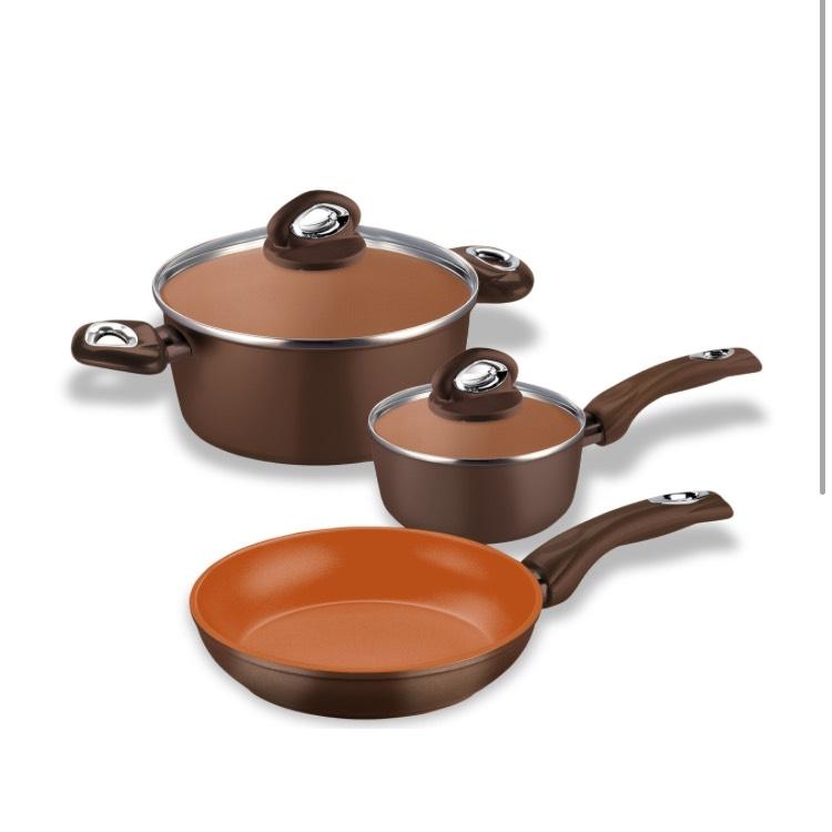 Set 5 pièces Bialetti Terracotta - 1 poêle + 1 faitout + 1 casserole + 2 couvercles