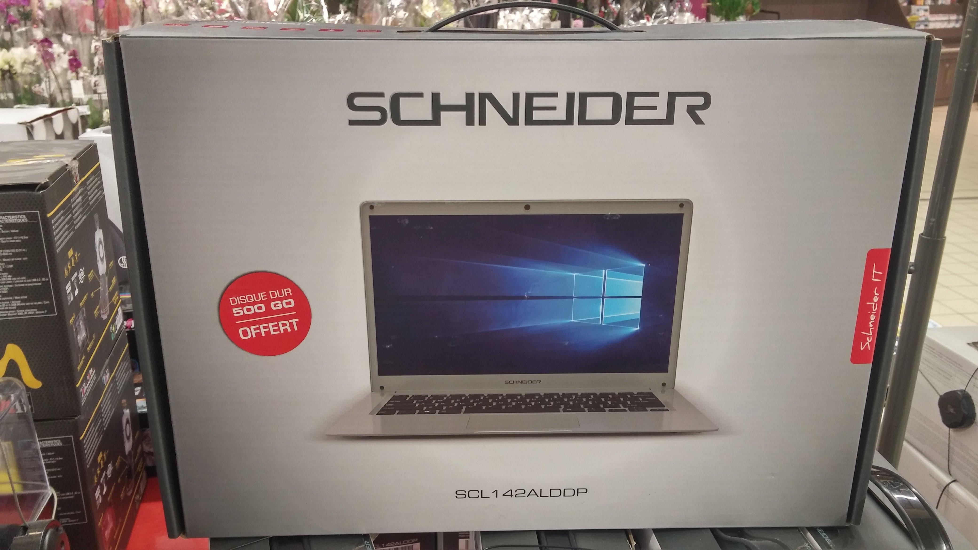 """PC Portable 14.1"""" Schneider SCL142ALDDP - Full HD IPS, Celeron N3350, 4 Go RAM, 32 Go eMMC, HDD 500 Go, W10"""