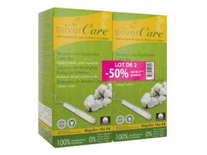 Tampons en coton Bio Silvercare avec applicateur