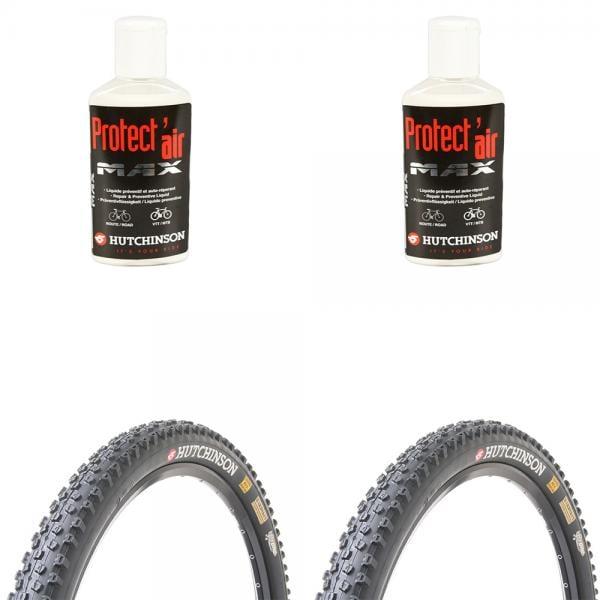 Lot de 2 pneus VTT Tubeless Hutchinson Toro 27,5 x 2,10 + 2 bidon préventifs Anti-Crevaison