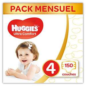 Sélection de Pack Huggies Ultra Comfort - Ex: Lot de 150 Couches Taille 4 (7-18 kg)